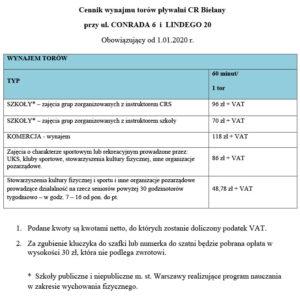 Cennik pływalni od 1 stycznia 2020