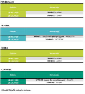 Grafik zajęć spinbike obowiązujący od 12 października 2020
