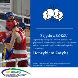 Grafika ilustrująca zaproszenie do zapisów na zajęcia z boksu