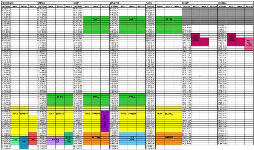 Grafik hali sportowa obowiązujący od 30 listopada do 6 grudnia 2020