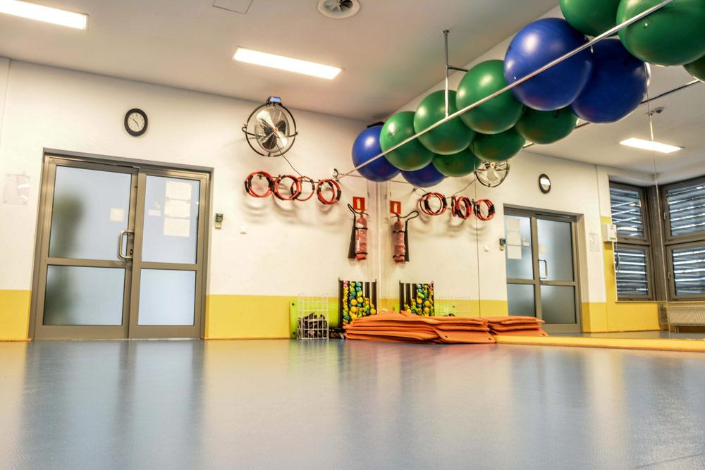 Fotografie sali w której odbywają się ćwiczenia fitness. Widać także piłki i inne przedmioty używane do ćwiczeń