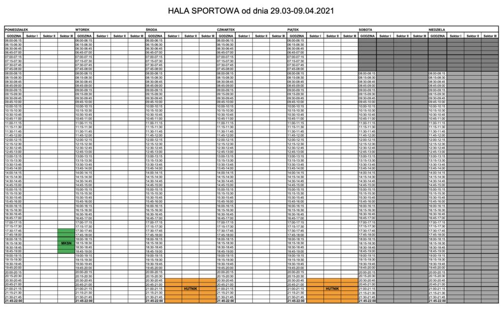 Grafik z godzinową dostępnością obiektu. Szczegółowe informacje można uzyskać dzwoniąc na recepcję obiektu.