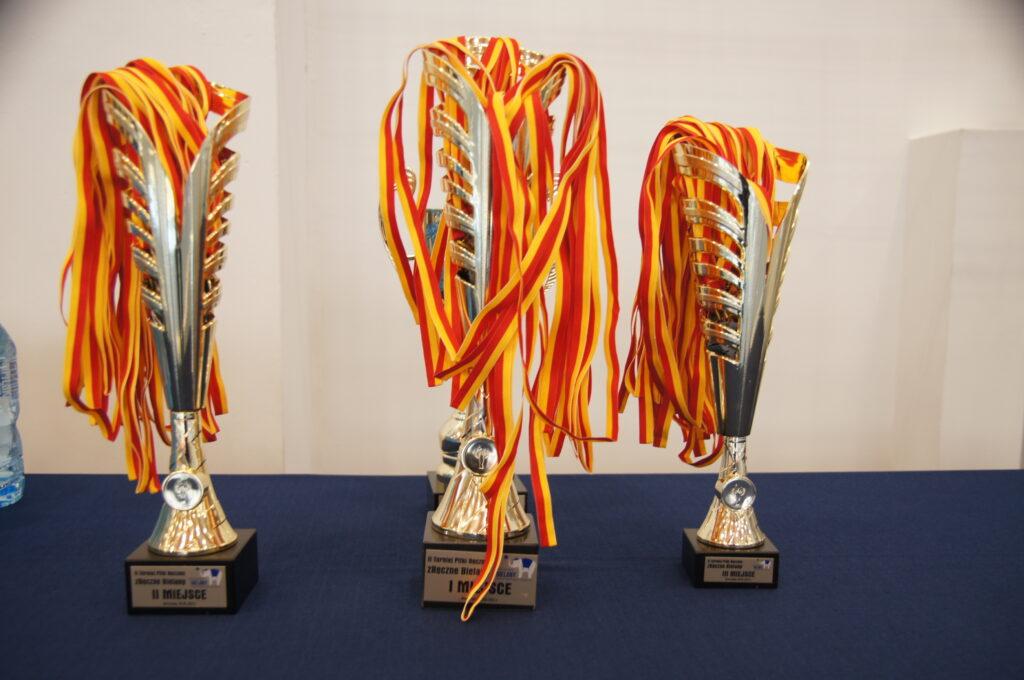 Puchary wraz z medalami dla młodych zawodników turnieju.