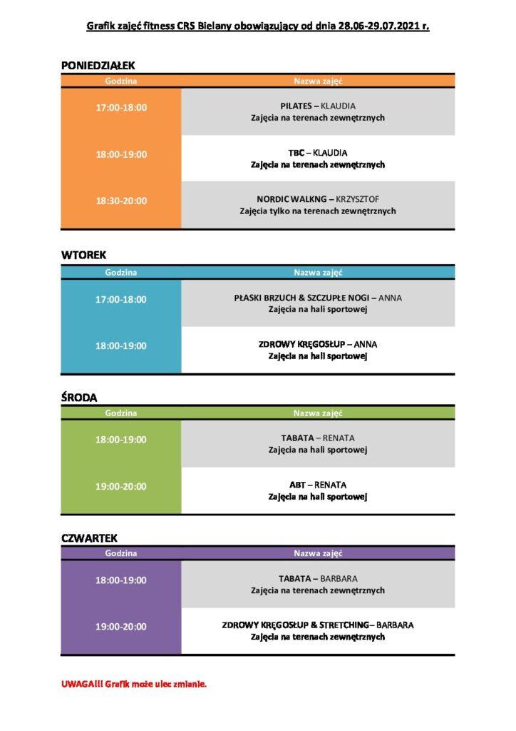 GRAFIK zajęć FITNESS CRS Bielany obowiązujący w dniach 28.06-29.07.2021