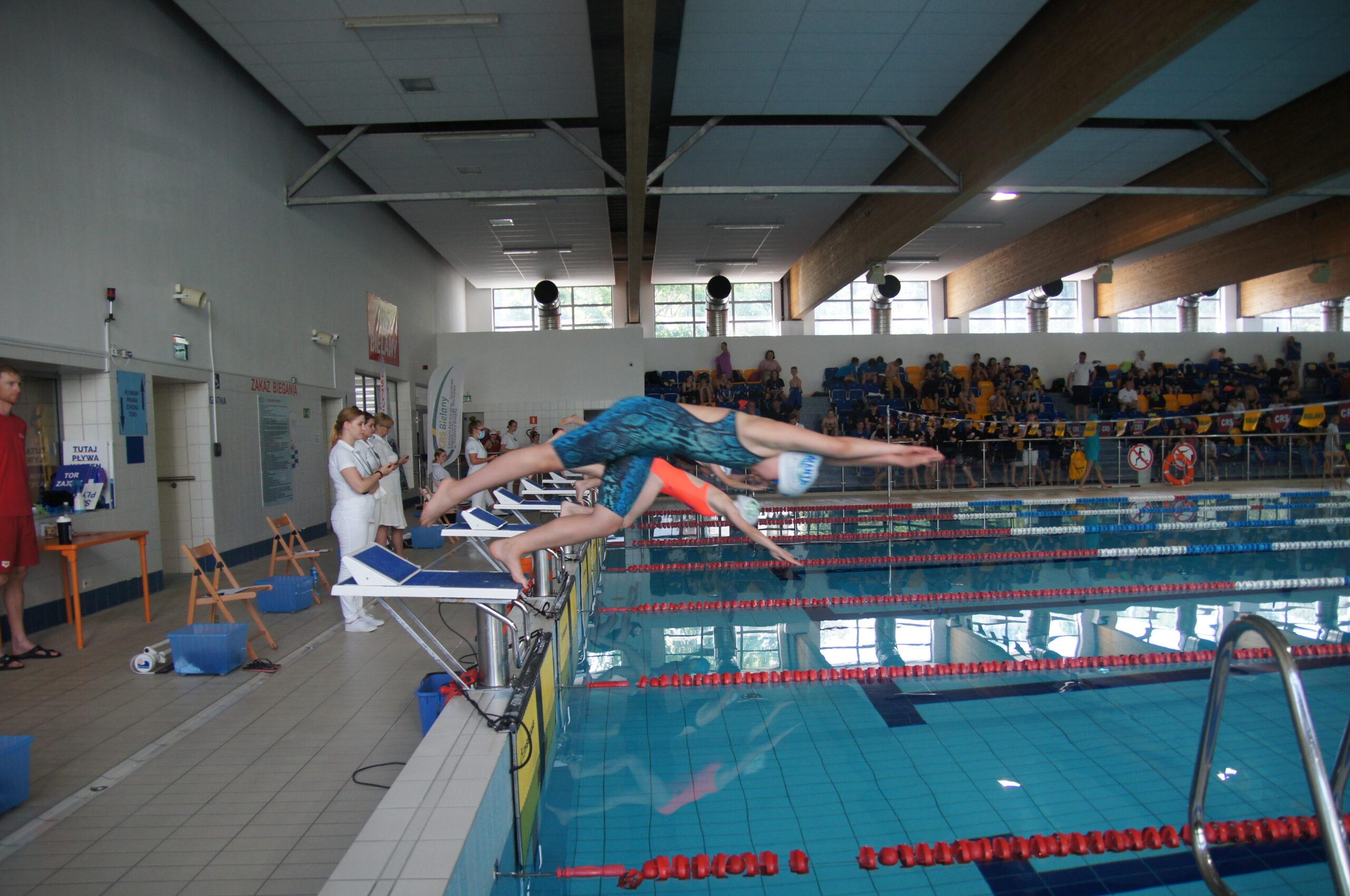 pływacy: Pływalnia, młodzi zawodnicy wskakują do wody.