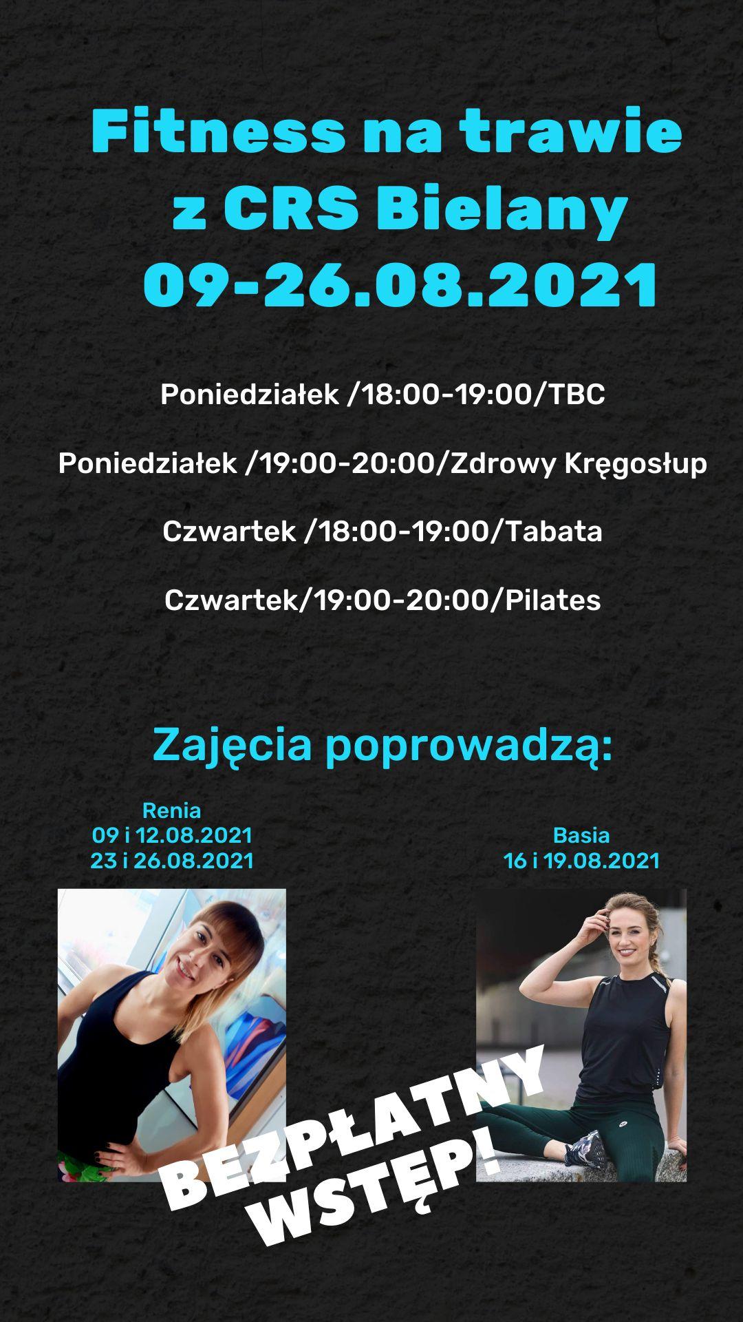 Grafika z czarnej kolorystyce informująca o zajęciach fitness na trawie z CRS Bielany, od 9 do 26 sierpnia 2021 roku.