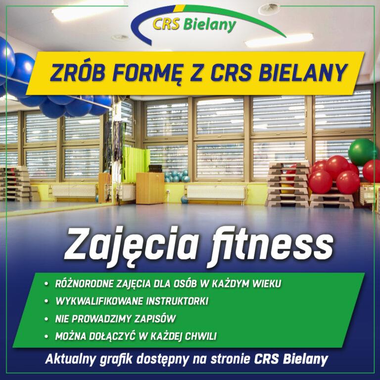 Grafika zachęcająca do udziału w zajęciach fitness w kolorystyce logo CRS Bielany.